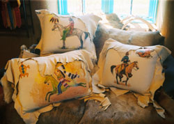Pillows taos, Tony Whitecrow, deerskin, leather, bedding, clothing, jackets, western, custom