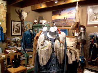 Inside Tony Whitecrow's store - taos, Tony Whitecrow, deerskin, leather, bedding, clothing, jackets, western, custom